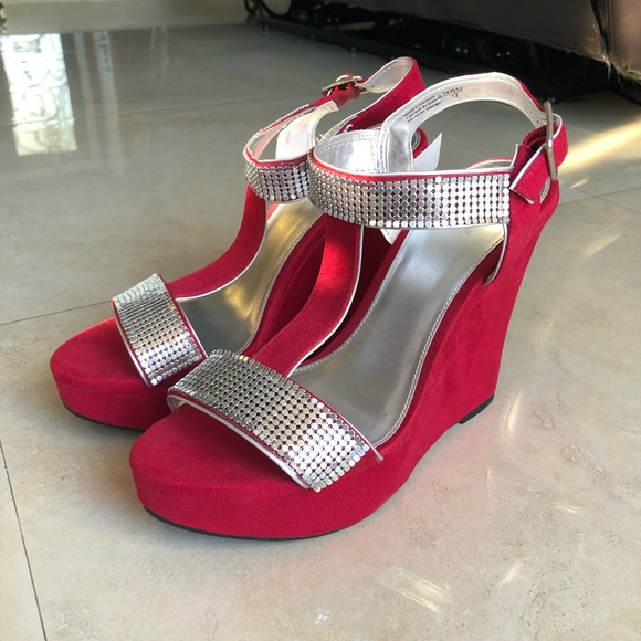 1d09604ff2b Red Suede Wedges. NWT. FIONI Clothing